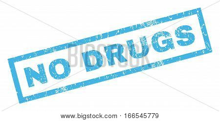 No Drugs text rubber seal stamp watermark. Caption inside rectangular banner with grunge design and scratched texture. Inclined vector blue ink sticker on a white background.
