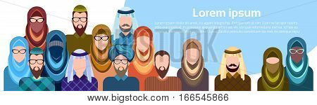 Arab People Group Muslim Arabic Man And Woman Banner With Copy Space Flat Vector Illustration