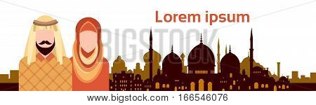 Arab People Group Arabic Man And Woman Over Muslim Cityscape Mosque Building Flat Vector Illustration