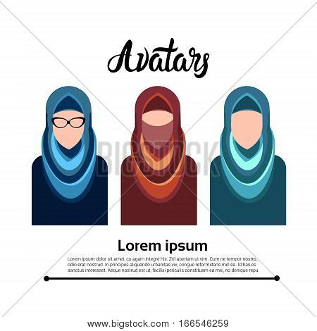 Arab People Group, Muslim Arabic Woman Profile Icon Set Social Network Flat Vector Illustration