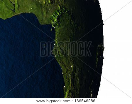 Gabon From Space During Dusk