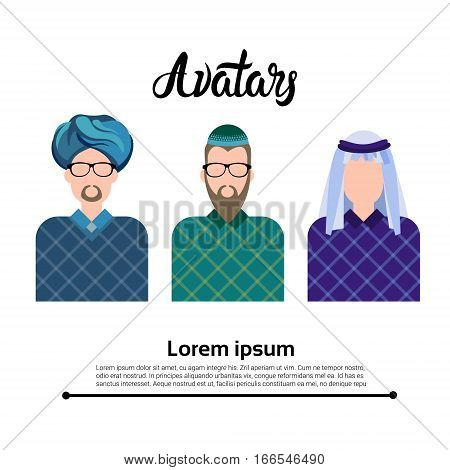 Arab Man, Muslim Arabic Male Profile Icon Set Social Network Flat Vector Illustration