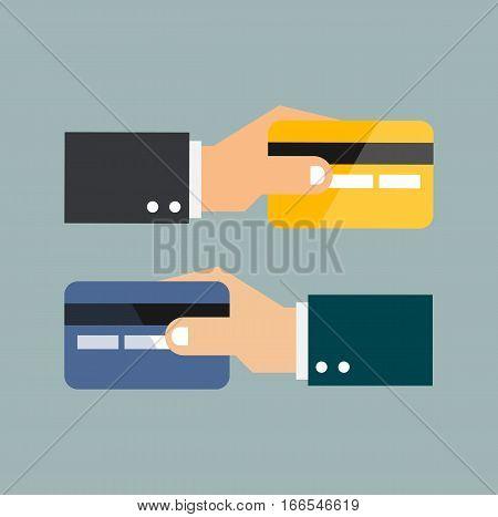 Payment card method flat dsign concept internet digital vector stock