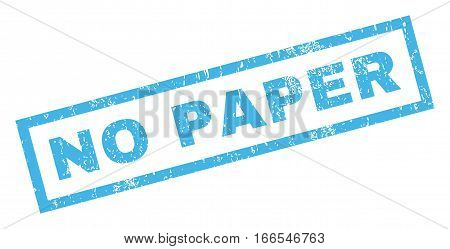 No Paper text rubber seal stamp watermark. Tag inside rectangular shape with grunge design and scratched texture. Inclined vector blue ink sticker on a white background.