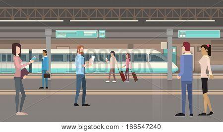 People Passengers Subway Tram Modern City Public Transport, Underground Rail Road Station Flat Vector Illustration