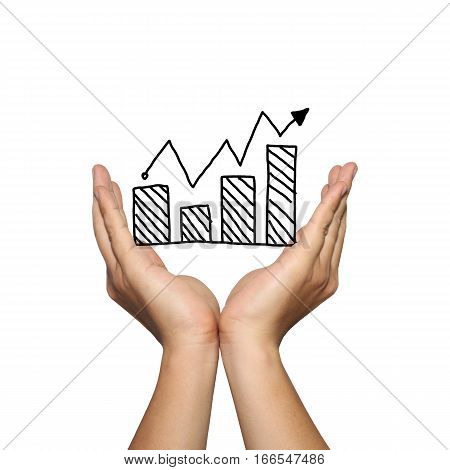 Symbol of business bar graph growing trend on man hand in concept of presentation or advertising support your organization isolated on white background.