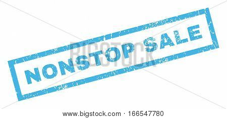 Nonstop Sale text rubber seal stamp watermark. Caption inside rectangular banner with grunge design and dirty texture. Inclined vector blue ink sticker on a white background.
