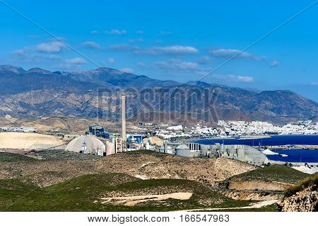 View to the cement factory in Carboneras. Province of Almeria. Spain