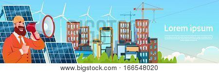 Business Man Wind Tribune Solar Energy Panel Renewable Station Presentation Flat Vector Illustration