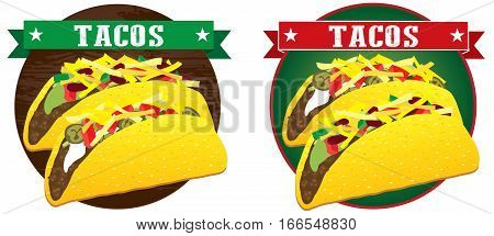 taco mexican food vector banner illustration set