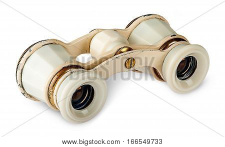 Old vintage pair of opera glasses isolated on white background