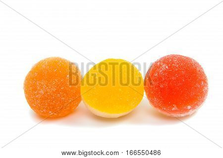 jelly candies isolated on a white background.