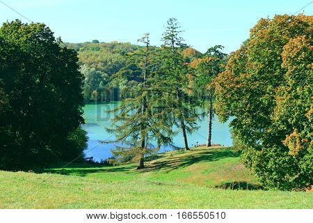lake with blue water in the forest in Kachanivka estate