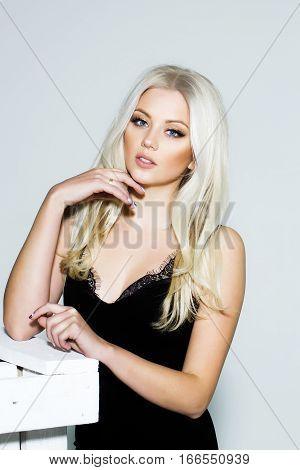 Pretty Platinum Blonde Girl In Black