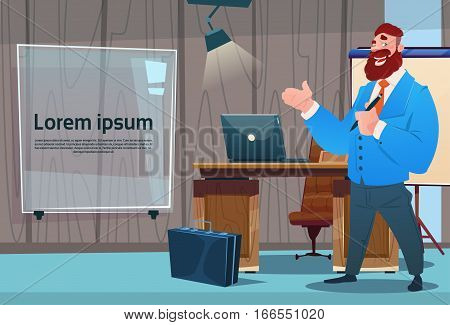 Business Man Cabinet Desk Working Place Office Interior Businessman Workplace Flat Vector Illustration