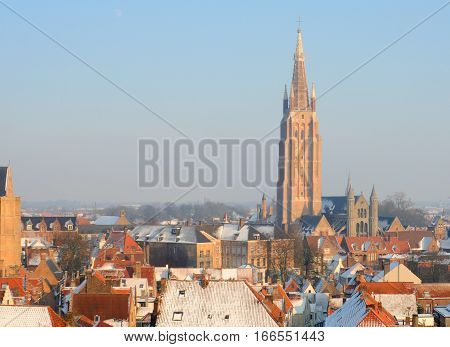 Church of Our Lady and roofs in winter in Bruges Flanders Belgium Europe