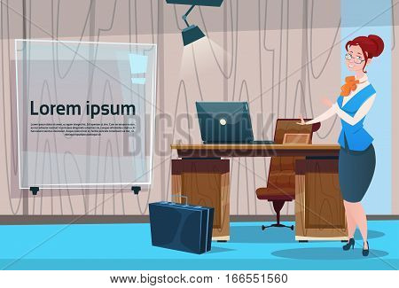 Business Woman Cabinet Desk Working Place Office Interior Businesswoman Workplace Flat Vector Illustration