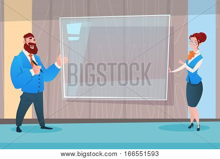 Business Man And Woman Digital Board Seminar Training Conference Brainstorming Presentation Flat Vector Illustration