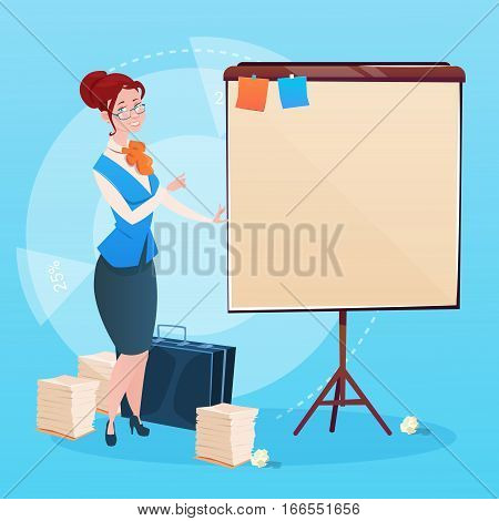 Business Woman With Flip Chart Seminar Training Conference Brainstorming Presentation Flat Vector Illustration