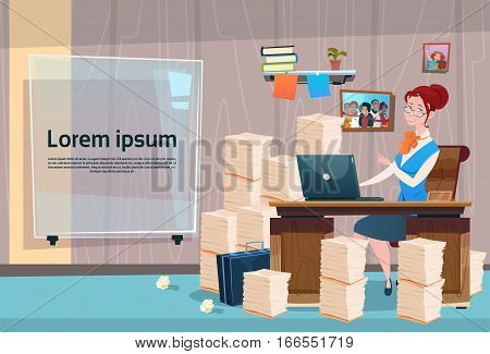 Business Woman Sitting Desk Working Place Office Interior Workload Businesswoman Workplace Stacked Documents Flat Vector Illustration