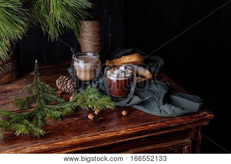 tasty warm cocoa on an ancient dresser