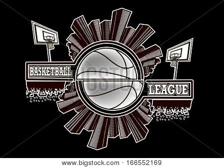 Logo basketball league with urban elements and the silhouette basketball atmosphere on the background of a basketball ball. Vector illustration