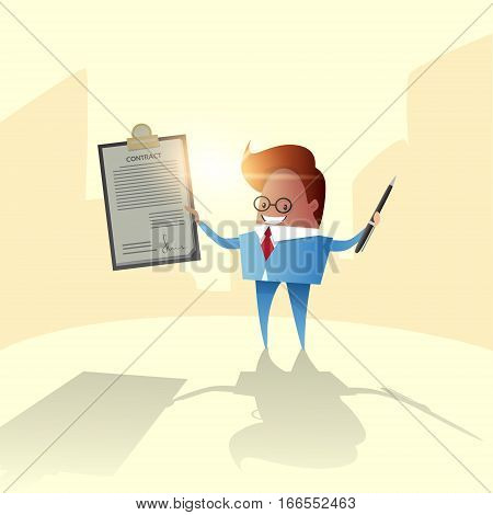 Successful Business Man Hold Contract Sign Document Folder Flat Vector Illustration