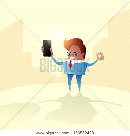 Business Man Holding Mobile Phone Call, Using Smart Cellphone Flat Vector Illustration