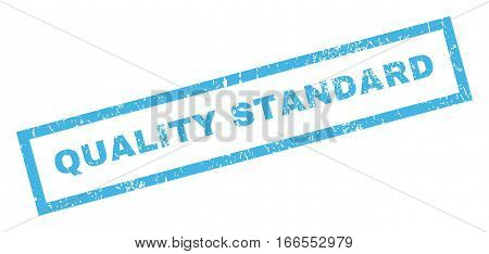 Quality Standard text rubber seal stamp watermark. Caption inside rectangular shape with grunge design and dust texture. Inclined vector blue ink sign on a white background.
