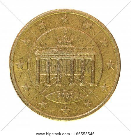 Italian fifty euro cent coin isolated on white background. European currency economy concept.