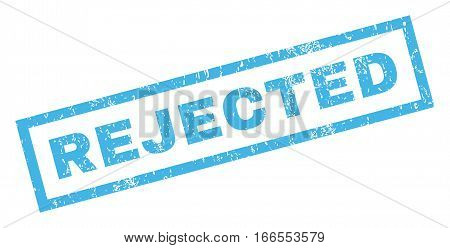 Rejected text rubber seal stamp watermark. Tag inside rectangular shape with grunge design and dust texture. Inclined vector blue ink emblem on a white background.