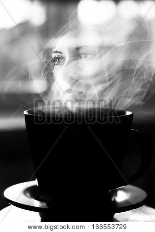 A surreal image of a female face. Conceptual art. Black and white.