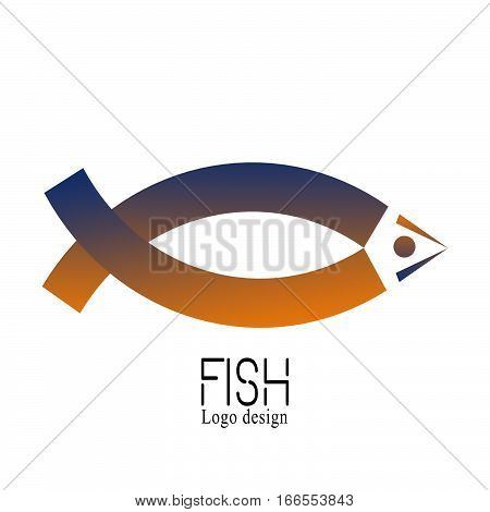 Fish Creative Logo of market seafood label and badge. Abstact ribbon Logo template. Corporate icon such as logotype isolated on white background