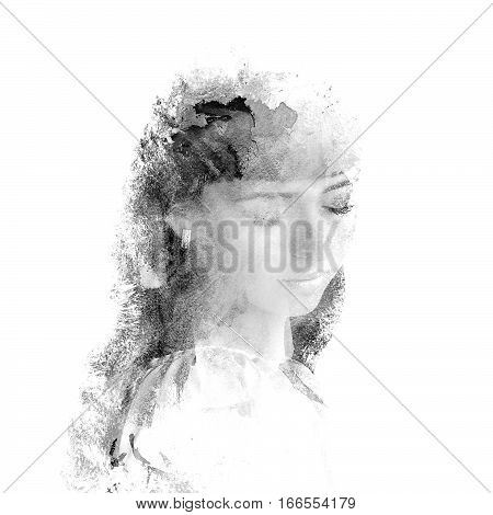 Double exposure of a young beautiful girl. Painted portrait of a female face.Black and white picture isolated on white background. Female sad look. Abstract woman face. Watercolor illustration.