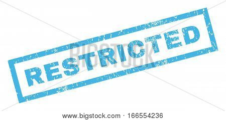 Restricted text rubber seal stamp watermark. Tag inside rectangular shape with grunge design and unclean texture. Inclined vector blue ink sticker on a white background.