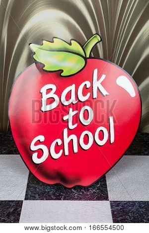 A back to school apple decoration sign
