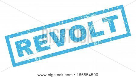 Revolt text rubber seal stamp watermark. Tag inside rectangular shape with grunge design and unclean texture. Inclined vector blue ink sticker on a white background.