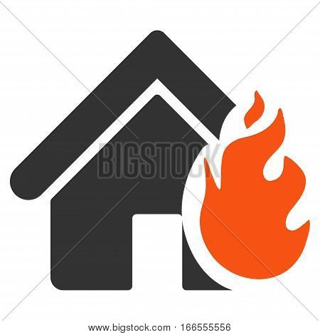 Realty Fire Damage vector pictograph. Style is flat graphic symbol.