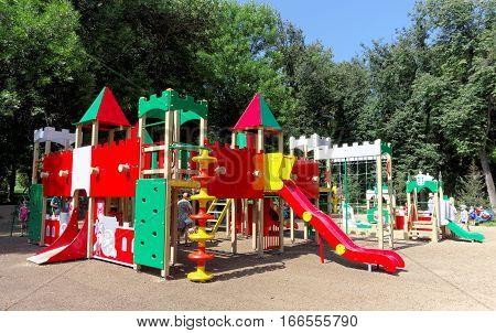 Nizhny Novgorod, Russia. - August 01.2016. Children Playground Game Complex In Kulibina Park.
