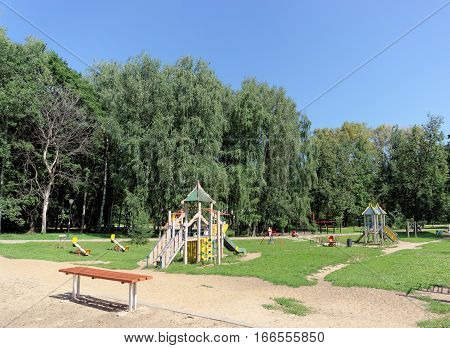 Nizhny Novgorod, Russia. - August 01.2016. Children Playground Game Complex In Kulibina Park - The O