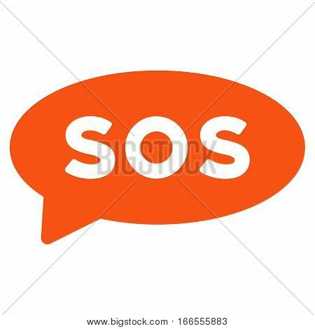 Sos Message Balloon vector pictograph. Style is flat graphic symbol.