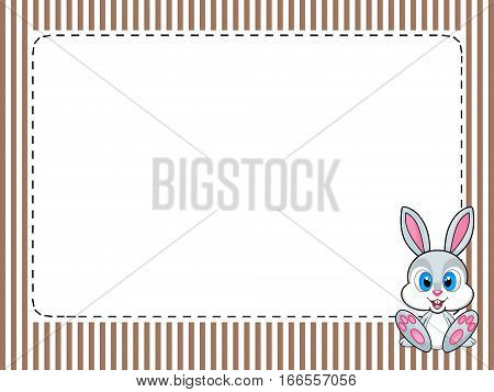 Frame stripes greetings card with rabbit. Frame with edges striped vintage, greetings card with rabbit at the bottom right. Central space for customization.