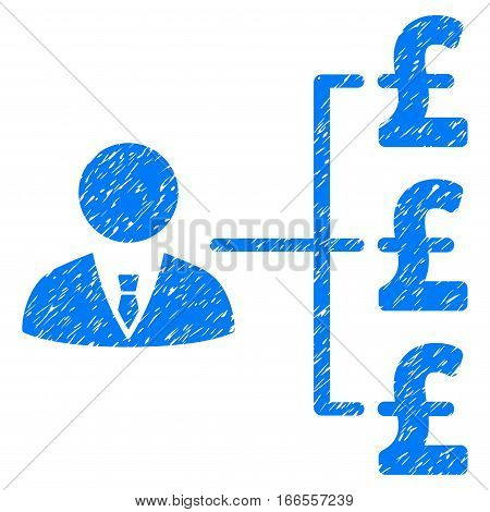 Banker Pound Payments grainy textured icon for overlay watermark stamps. Flat symbol with dirty texture. Dotted vector blue ink rubber seal stamp with grunge design on a white background.