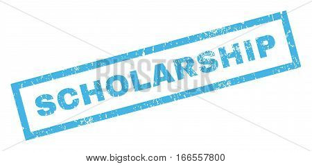 Scholarship text rubber seal stamp watermark. Caption inside rectangular banner with grunge design and unclean texture. Inclined vector blue ink sticker on a white background.