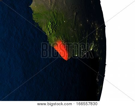 Liberia From Space During Dusk