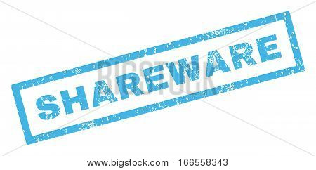 Shareware text rubber seal stamp watermark. Tag inside rectangular banner with grunge design and scratched texture. Inclined vector blue ink sticker on a white background.
