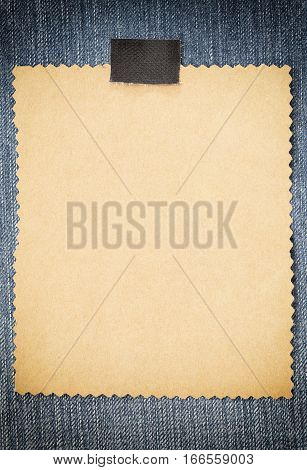 Brown cardboard of empty and copy space on Denim backgroundYou can input the message text in picture.