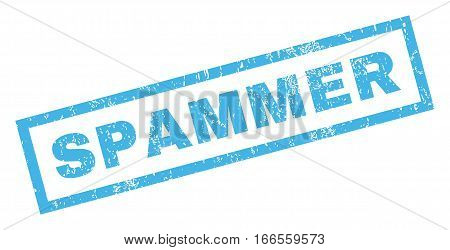 Spammer text rubber seal stamp watermark. Tag inside rectangular shape with grunge design and scratched texture. Inclined vector blue ink sign on a white background.