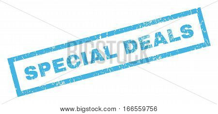 Special Deals text rubber seal stamp watermark. Caption inside rectangular shape with grunge design and unclean texture. Inclined vector blue ink emblem on a white background.