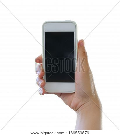 Hand of woman holding a smartphone isolated on white background and have clipping paths to easy deployment.